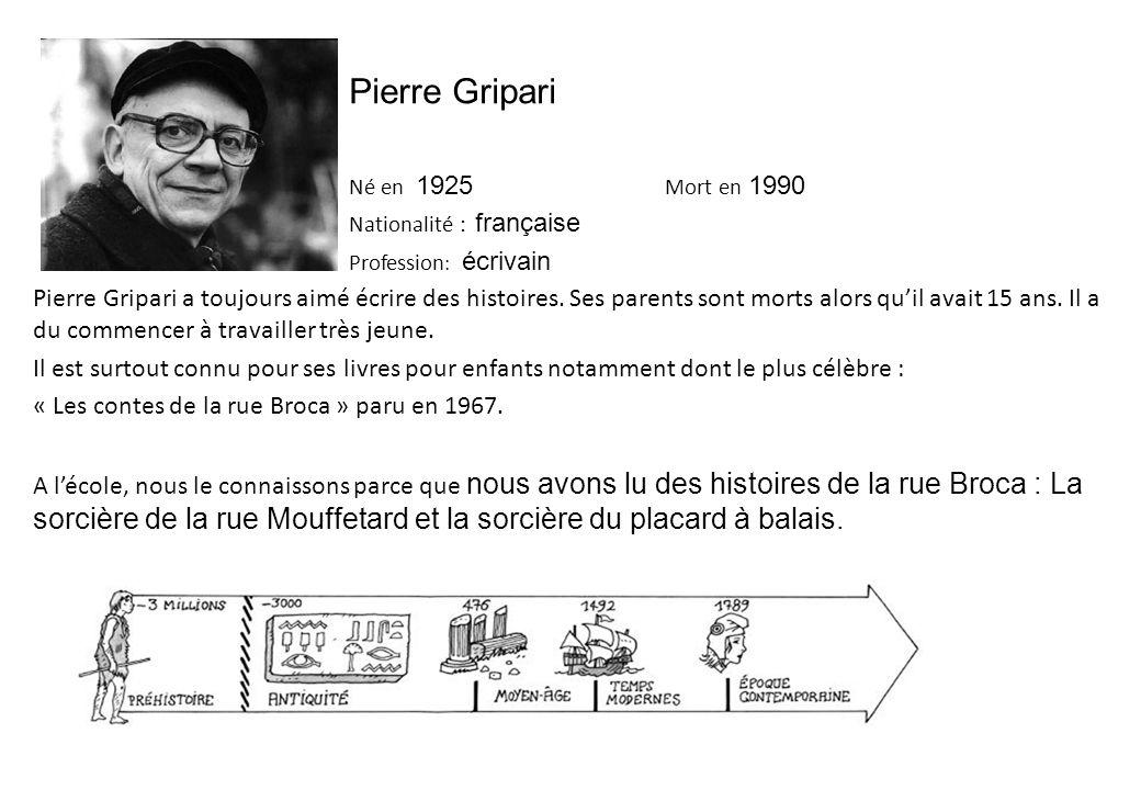 Pierre Gripari Né en 1925 Mort en 1990 Nationalité : française Profession : écrivain Pierre Gripari a toujours aimé écrire des histoires.