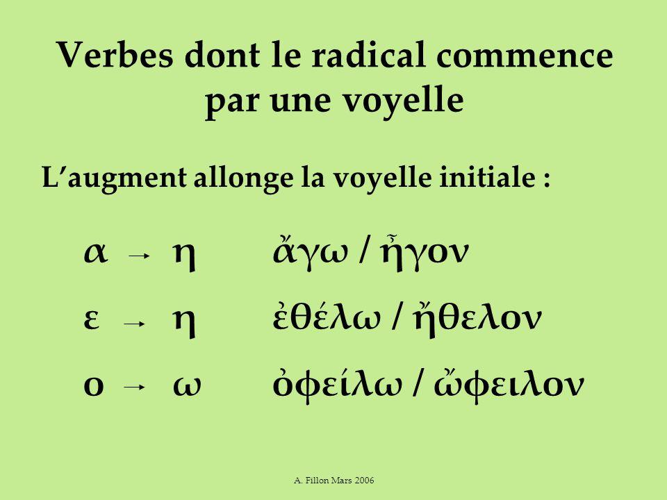 A. Fillon Mars 2006 Verbes dont le radical commence par une voyelle L'augment allonge la voyelle initiale : ἄγω / ἦγον ἐθέλω / ἤθελον ὀφείλω / ὤφειλον