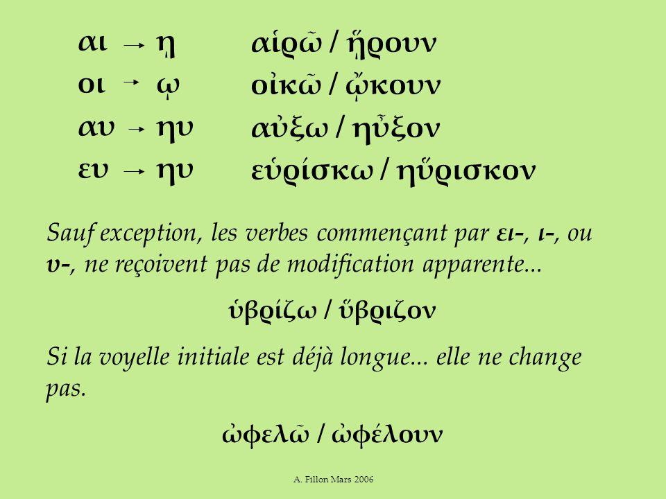 A. Fillon Mars 2006 αι οι αυ ευ Sauf exception, les verbes commençant par ει-, ι-, ou υ-, ne reçoivent pas de modification apparente... ὑβρίζω / ὕβριζ