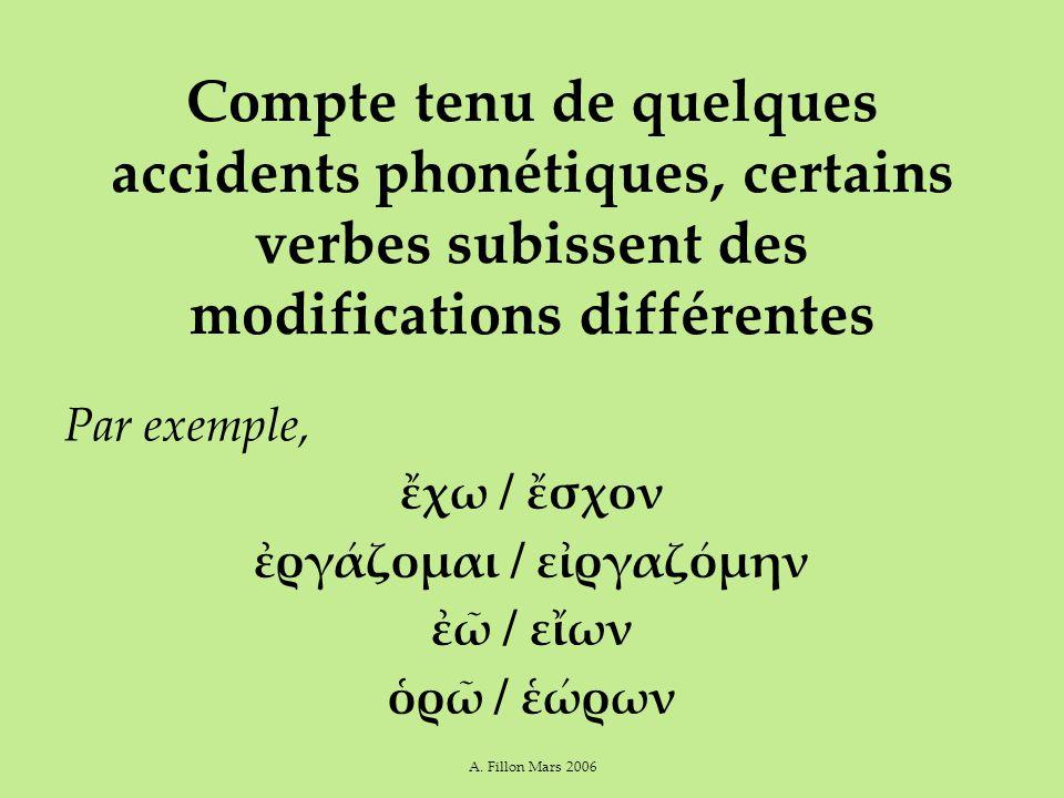 A. Fillon Mars 2006 Compte tenu de quelques accidents phonétiques, certains verbes subissent des modifications différentes Par exemple, ἔχω / ἔσχον ἐρ