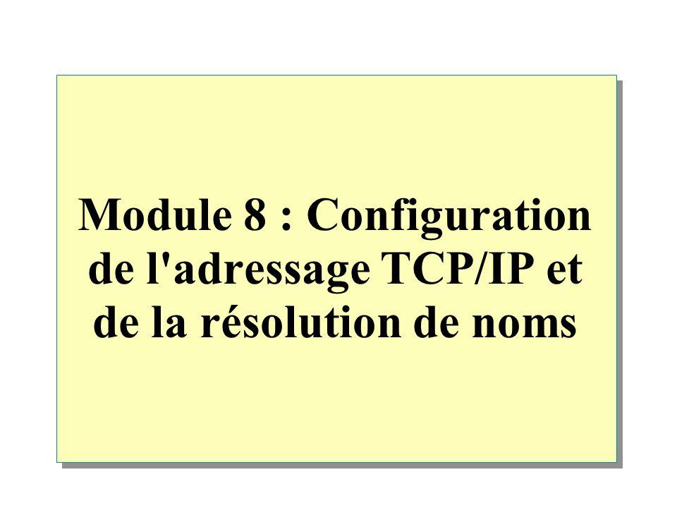 Module 8 : Configuration de l'adressage TCP/IP et de la résolution de noms