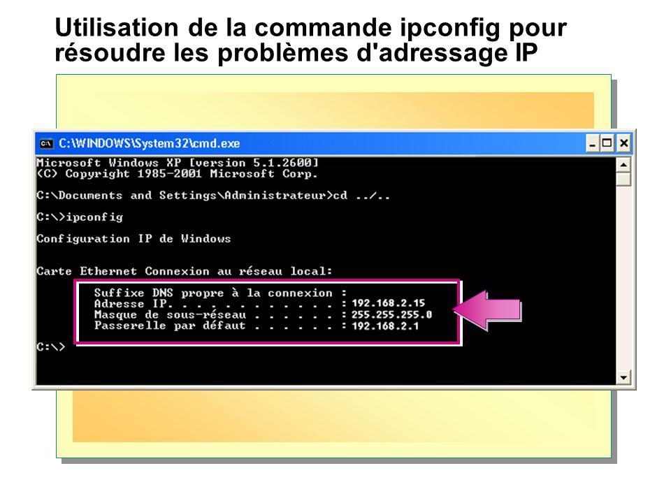 Utilisation de la commande ipconfig pour résoudre les problèmes d'adressage IP