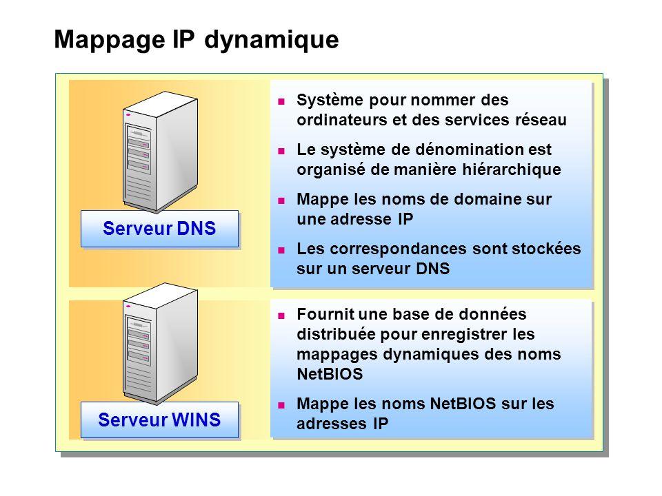 Mappage IP dynamique  Système pour nommer des ordinateurs et des services réseau  Le système de dénomination est organisé de manière hiérarchique 