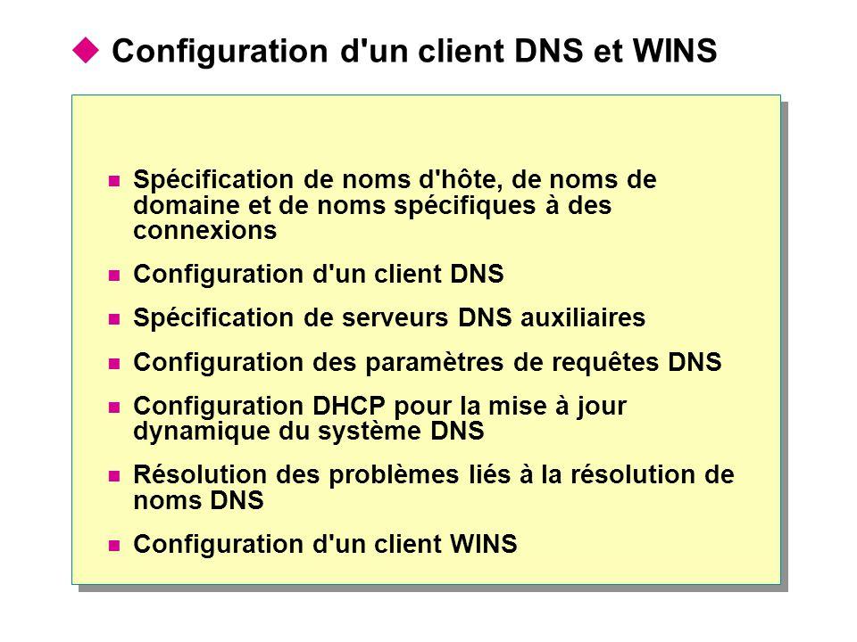  Configuration d'un client DNS et WINS  Spécification de noms d'hôte, de noms de domaine et de noms spécifiques à des connexions  Configuration d'u