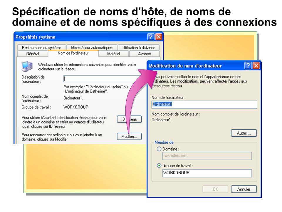 Spécification de noms d'hôte, de noms de domaine et de noms spécifiques à des connexions