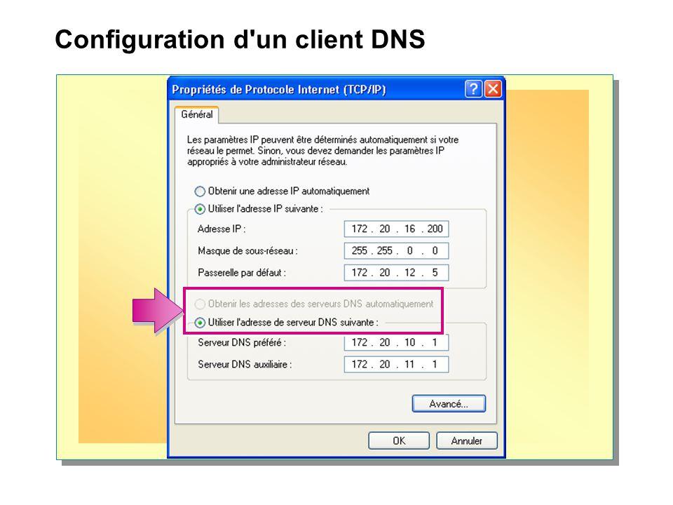 Configuration d'un client DNS