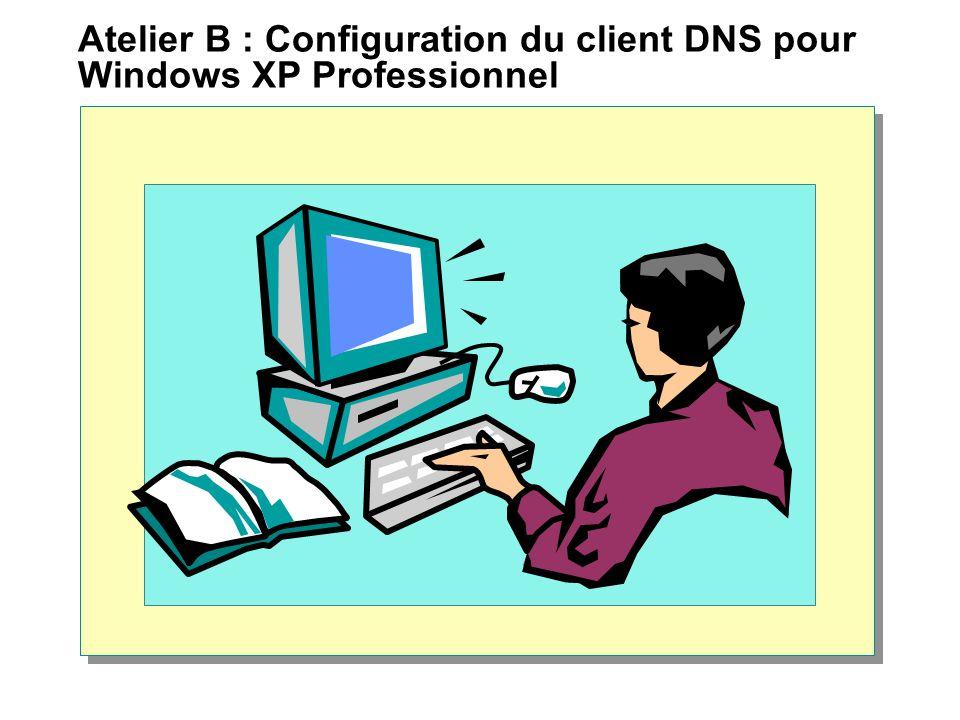 Atelier B : Configuration du client DNS pour Windows XP Professionnel
