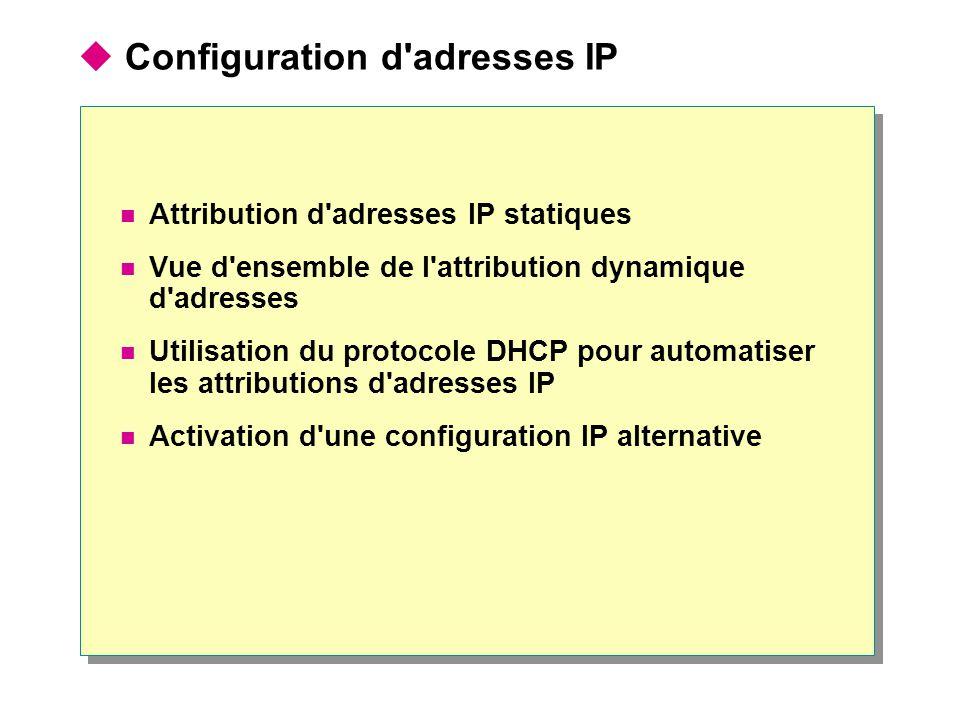  Configuration d'adresses IP  Attribution d'adresses IP statiques  Vue d'ensemble de l'attribution dynamique d'adresses  Utilisation du protocole