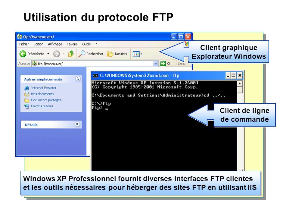 Utilisation du protocole FTP Client graphique Explorateur Windows Client de ligne de commande Windows XP Professionnel fournit diverses interfaces FTP