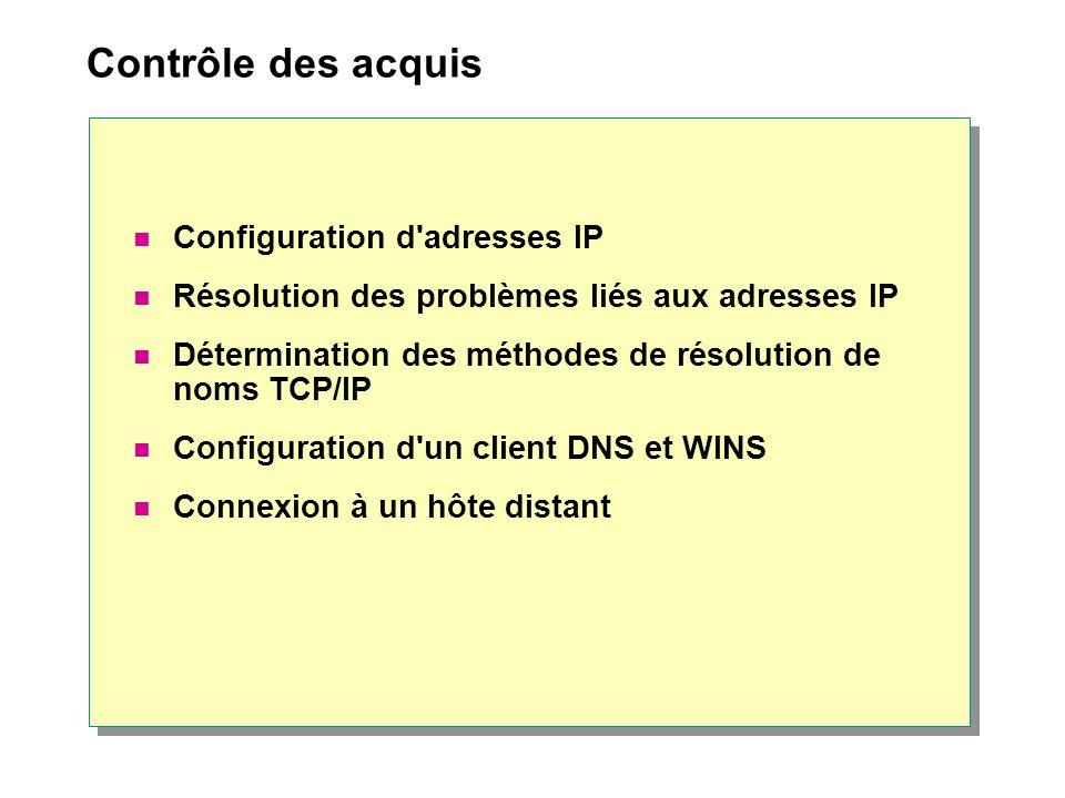Contrôle des acquis  Configuration d'adresses IP  Résolution des problèmes liés aux adresses IP  Détermination des méthodes de résolution de noms T
