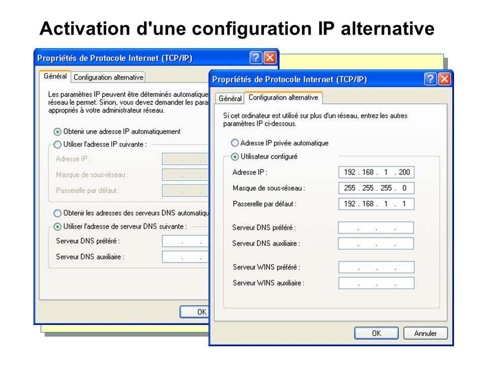 Activation d'une configuration IP alternative