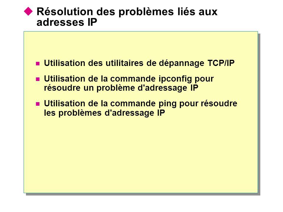  Résolution des problèmes liés aux adresses IP  Utilisation des utilitaires de dépannage TCP/IP  Utilisation de la commande ipconfig pour résoudre