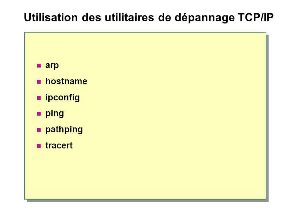 Utilisation des utilitaires de dépannage TCP/IP  arp  hostname  ipconfig  ping  pathping  tracert