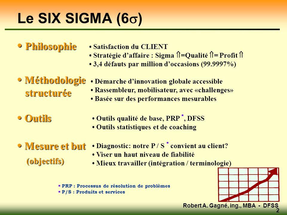 Robert A. Gagné, ing., MBA - DFSS 2 • Philosophie • Méthodologie structurée structurée • Outils • Mesure et but (objectifs) (objectifs) • Diagnostic: