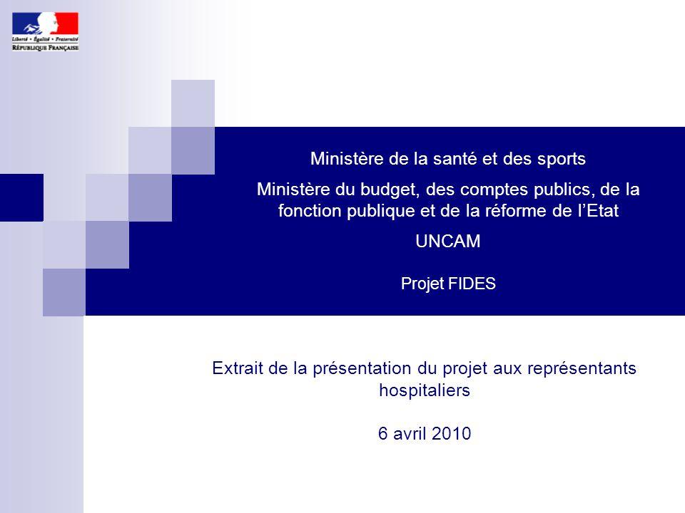 1 Ministère de la santé et des sports Ministère du budget, des comptes publics, de la fonction publique et de la réforme de l'Etat UNCAM Projet FIDES