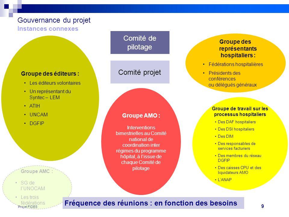 9 Projet FIDES Gouvernance du projet Instances connexes Comité de pilotage Comité projet Groupe des éditeurs : •Les éditeurs volontaires •Un représent
