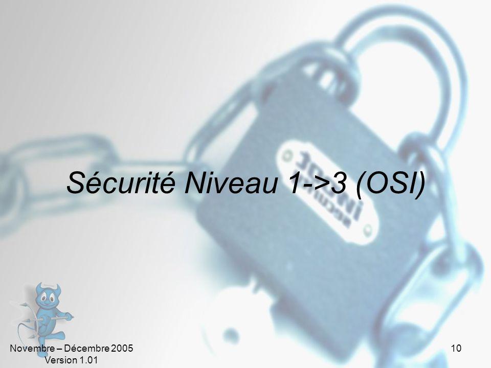 Novembre – Décembre 2005 Version 1.01 10 Sécurité Niveau 1->3 (OSI)