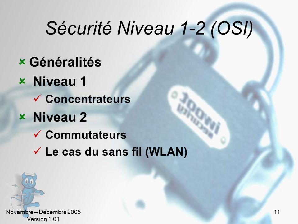 Novembre – Décembre 2005 Version 1.01 11 Sécurité Niveau 1-2 (OSI)  Généralités  Niveau 1  Concentrateurs  Niveau 2  Commutateurs  Le cas du sans fil (WLAN)