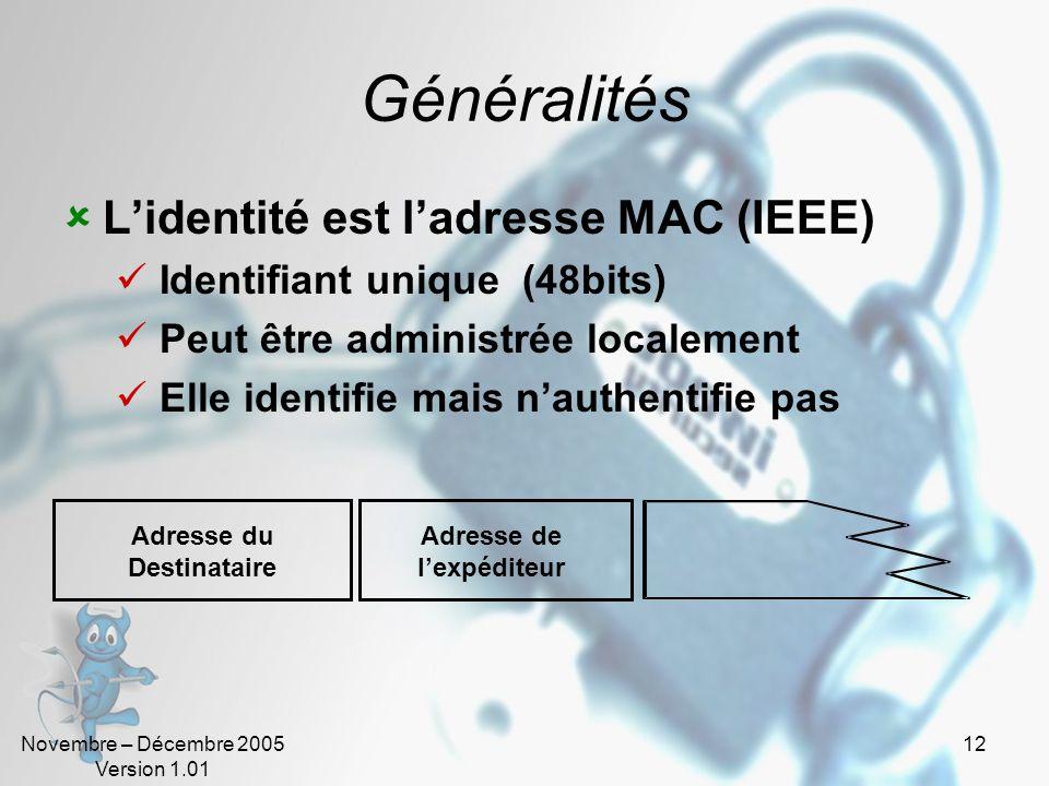 Novembre – Décembre 2005 Version 1.01 12 Généralités  L'identité est l'adresse MAC (IEEE)  Identifiant unique (48bits)  Peut être administrée localement  Elle identifie mais n'authentifie pas Adresse du Destinataire Adresse de l'expéditeur