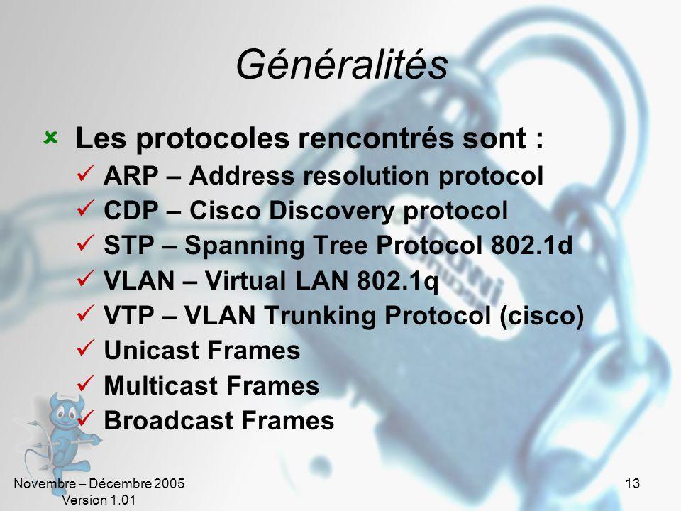 Novembre – Décembre 2005 Version 1.01 13 Généralités  Les protocoles rencontrés sont :  ARP – Address resolution protocol  CDP – Cisco Discovery protocol  STP – Spanning Tree Protocol 802.1d  VLAN – Virtual LAN 802.1q  VTP – VLAN Trunking Protocol (cisco)  Unicast Frames  Multicast Frames  Broadcast Frames
