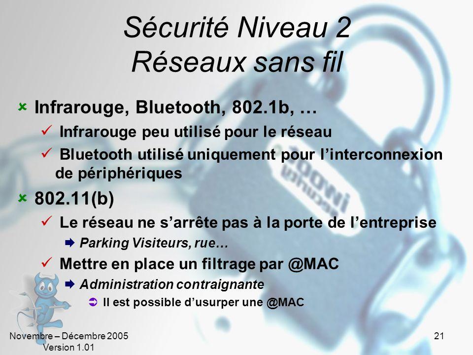 Novembre – Décembre 2005 Version 1.01 21 Sécurité Niveau 2 Réseaux sans fil  Infrarouge, Bluetooth, 802.1b, …  Infrarouge peu utilisé pour le réseau  Bluetooth utilisé uniquement pour l'interconnexion de périphériques  802.11(b)  Le réseau ne s'arrête pas à la porte de l'entreprise  Parking Visiteurs, rue…  Mettre en place un filtrage par @MAC  Administration contraignante  Il est possible d'usurper une @MAC