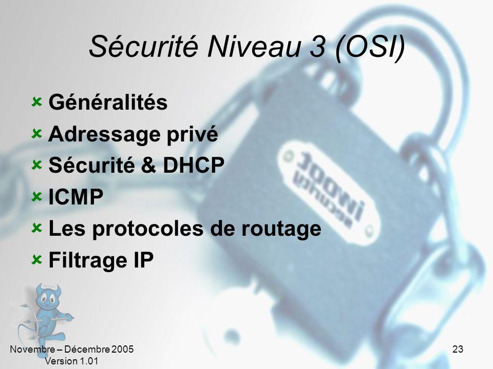 Novembre – Décembre 2005 Version 1.01 23 Sécurité Niveau 3 (OSI)  Généralités  Adressage privé  Sécurité & DHCP  ICMP  Les protocoles de routage  Filtrage IP