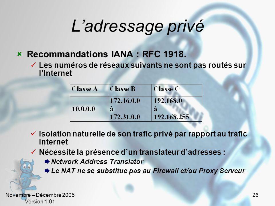 Novembre – Décembre 2005 Version 1.01 26 L'adressage privé  Recommandations IANA : RFC 1918.