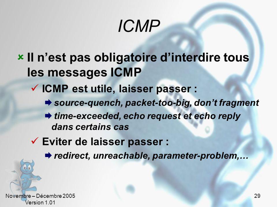 Novembre – Décembre 2005 Version 1.01 29 ICMP  Il n'est pas obligatoire d'interdire tous les messages ICMP  ICMP est utile, laisser passer :  source-quench, packet-too-big, don't fragment  time-exceeded, echo request et echo reply dans certains cas  Eviter de laisser passer :  redirect, unreachable, parameter-problem,…