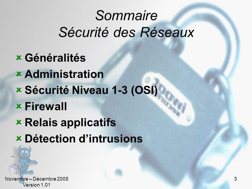 Novembre – Décembre 2005 Version 1.01 3 Sommaire Sécurité des Réseaux  Généralités  Administration  Sécurité Niveau 1-3 (OSI)  Firewall  Relais applicatifs  Détection d'intrusions