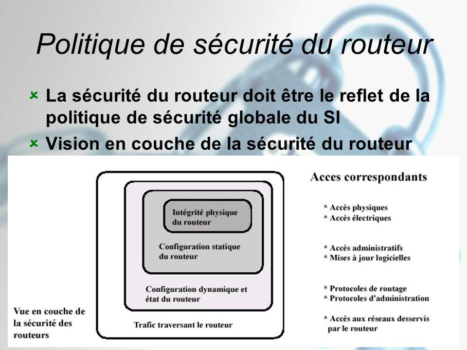 Novembre – Décembre 2005 Version 1.01 32 Politique de sécurité du routeur  La sécurité du routeur doit être le reflet de la politique de sécurité globale du SI  Vision en couche de la sécurité du routeur