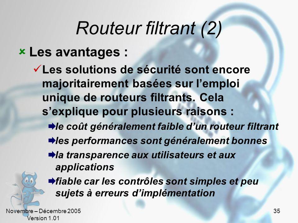 Novembre – Décembre 2005 Version 1.01 35 Routeur filtrant (2)  Les avantages :  Les solutions de sécurité sont encore majoritairement basées sur l'emploi unique de routeurs filtrants.