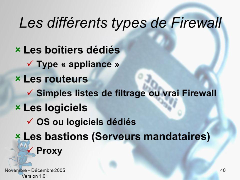 Novembre – Décembre 2005 Version 1.01 40 Les différents types de Firewall  Les boîtiers dédiés  Type « appliance »  Les routeurs  Simples listes de filtrage ou vrai Firewall  Les logiciels  OS ou logiciels dédiés  Les bastions (Serveurs mandataires)  Proxy