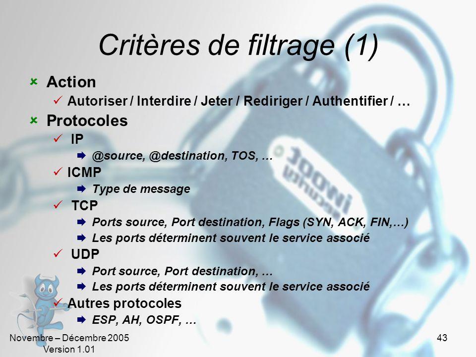 Novembre – Décembre 2005 Version 1.01 43 Critères de filtrage (1)  Action  Autoriser / Interdire / Jeter / Rediriger / Authentifier / …  Protocoles  IP  @source, @destination, TOS, …  ICMP  Type de message  TCP  Ports source, Port destination, Flags (SYN, ACK, FIN,…)  Les ports déterminent souvent le service associé  UDP  Port source, Port destination, …  Les ports déterminent souvent le service associé  Autres protocoles  ESP, AH, OSPF, …