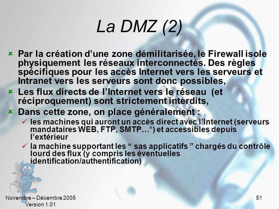 Novembre – Décembre 2005 Version 1.01 51 La DMZ (2)  Par la création d'une zone démilitarisée, le Firewall isole physiquement les réseaux interconnectés.