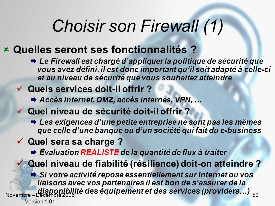 Novembre – Décembre 2005 Version 1.01 59 Choisir son Firewall (1)  Quelles seront ses fonctionnalités .