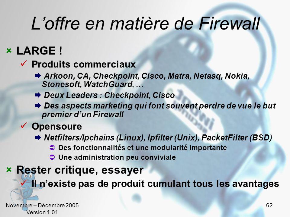 Novembre – Décembre 2005 Version 1.01 62 L'offre en matière de Firewall  LARGE .