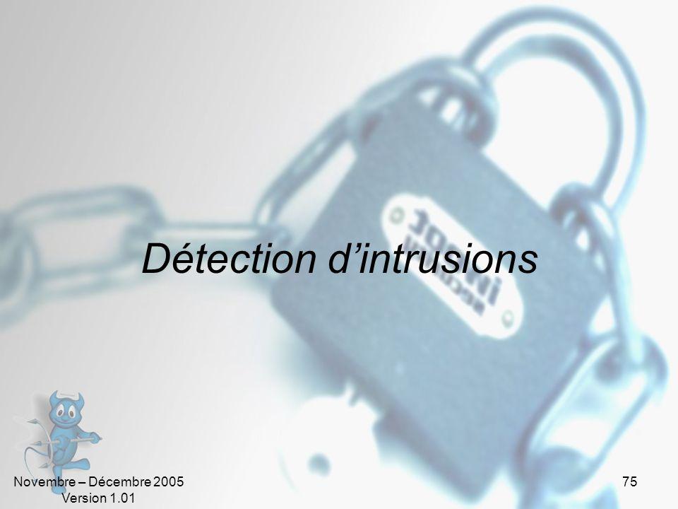 Novembre – Décembre 2005 Version 1.01 75 Détection d'intrusions