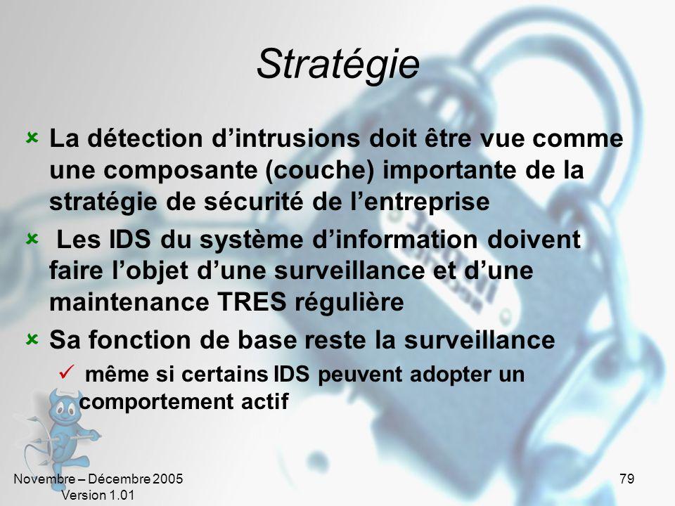 Novembre – Décembre 2005 Version 1.01 79 Stratégie  La détection d'intrusions doit être vue comme une composante (couche) importante de la stratégie de sécurité de l'entreprise  Les IDS du système d'information doivent faire l'objet d'une surveillance et d'une maintenance TRES régulière  Sa fonction de base reste la surveillance  même si certains IDS peuvent adopter un comportement actif