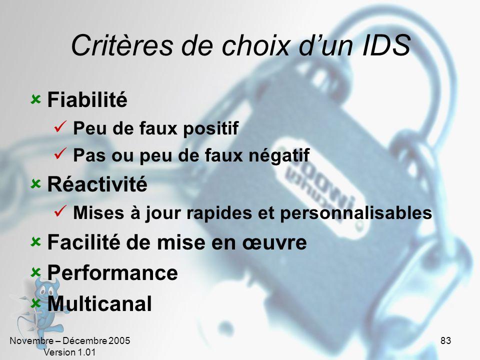 Novembre – Décembre 2005 Version 1.01 83 Critères de choix d'un IDS  Fiabilité  Peu de faux positif  Pas ou peu de faux négatif  Réactivité  Mises à jour rapides et personnalisables  Facilité de mise en œuvre  Performance  Multicanal