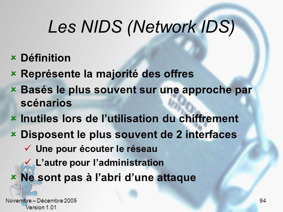 Novembre – Décembre 2005 Version 1.01 94 Les NIDS (Network IDS)  Définition  Représente la majorité des offres  Basés le plus souvent sur une approche par scénarios  Inutiles lors de l'utilisation du chiffrement  Disposent le plus souvent de 2 interfaces  Une pour écouter le réseau  L'autre pour l'administration  Ne sont pas à l'abri d'une attaque