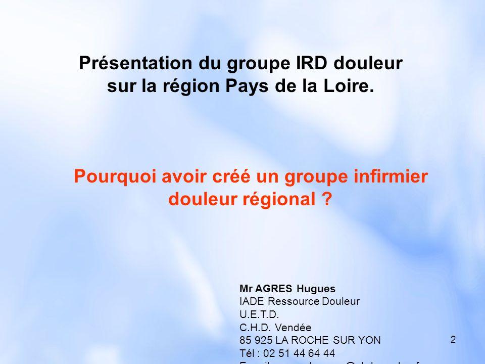 2 Mr AGRES Hugues IADE Ressource Douleur U.E.T.D. C.H.D. Vendée 85 925 LA ROCHE SUR YON Tél : 02 51 44 64 44 E-mail : agres.hugues@chd-vendee.fr Pourq