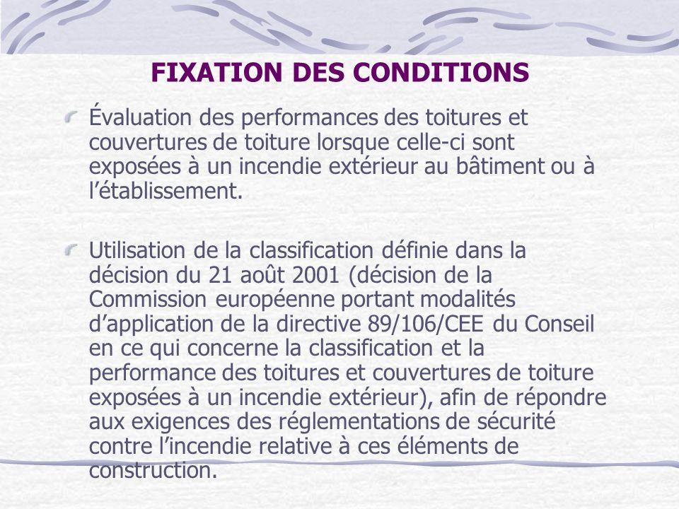 FIXATION DES CONDITIONS Évaluation des performances des toitures et couvertures de toiture lorsque celle-ci sont exposées à un incendie extérieur au b