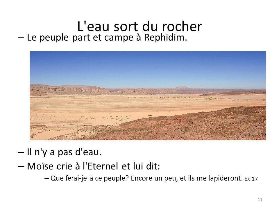 11 L eau sort du rocher – Le peuple part et campe à Rephidim.