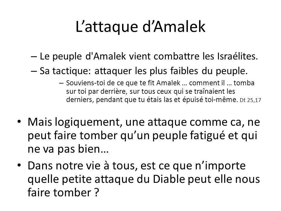 L'attaque d'Amalek – Le peuple d Amalek vient combattre les Israélites.