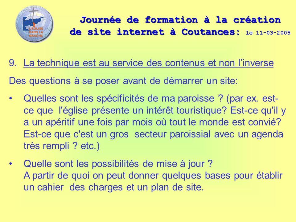 Journée de formation à la création de site internet à Coutances: Journée de formation à la création de site internet à Coutances: le 11-03-2005 9. La