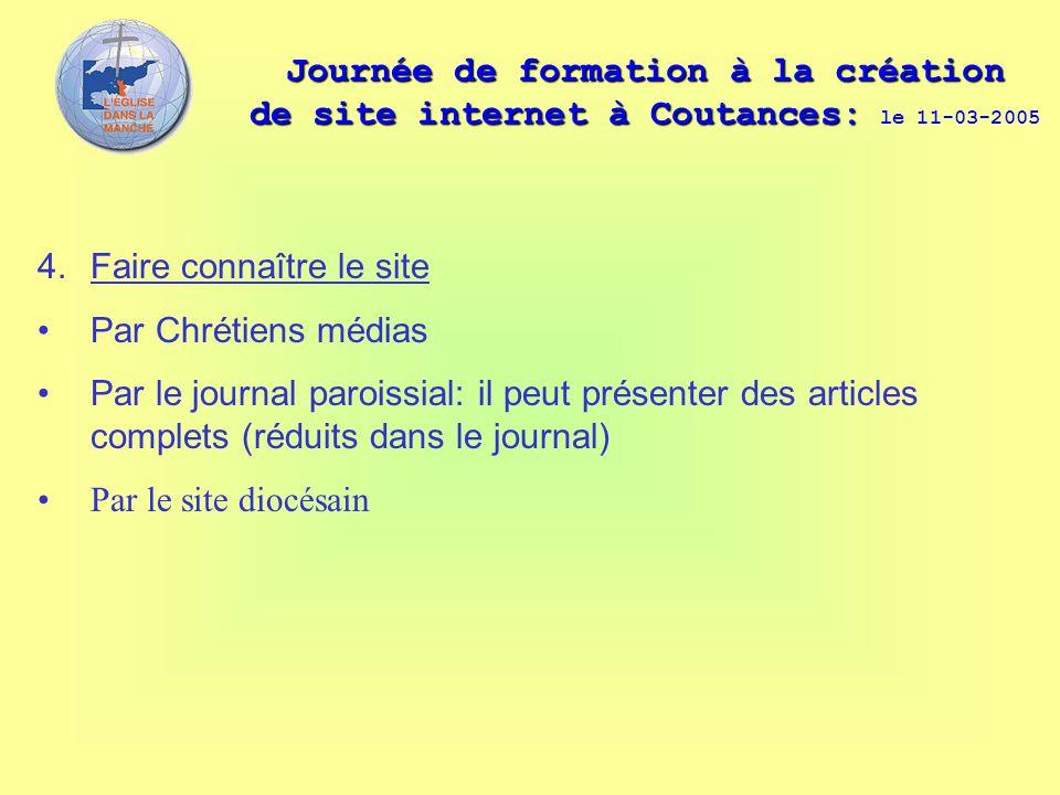Journée de formation à la création de site internet à Coutances: Journée de formation à la création de site internet à Coutances: le 11-03-2005 4. Fai