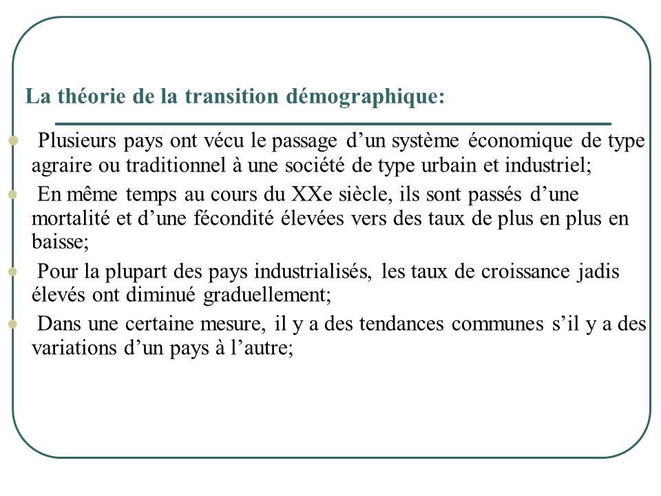 La théorie de la transition démographique:  Plusieurs pays ont vécu le passage d'un système économique de type agraire ou traditionnel à une société