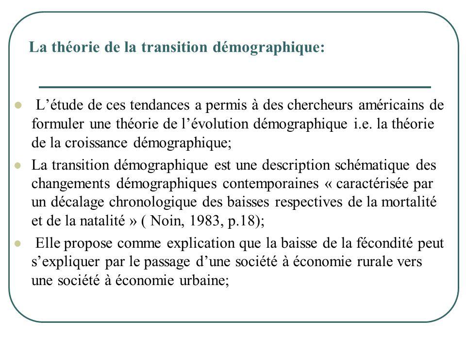 La théorie de la transition démographique:  L'étude de ces tendances a permis à des chercheurs américains de formuler une théorie de l'évolution démo