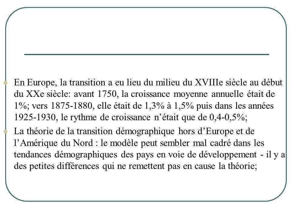  En Europe, la transition a eu lieu du milieu du XVIIIe siècle au début du XXe siècle: avant 1750, la croissance moyenne annuelle était de 1%; vers 1