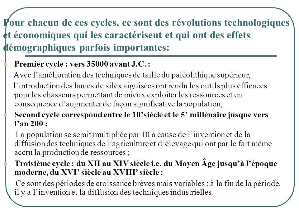 Pour chacun de ces cycles, ce sont des révolutions technologiques et économiques qui les caractérisent et qui ont des effets démographiques parfois im